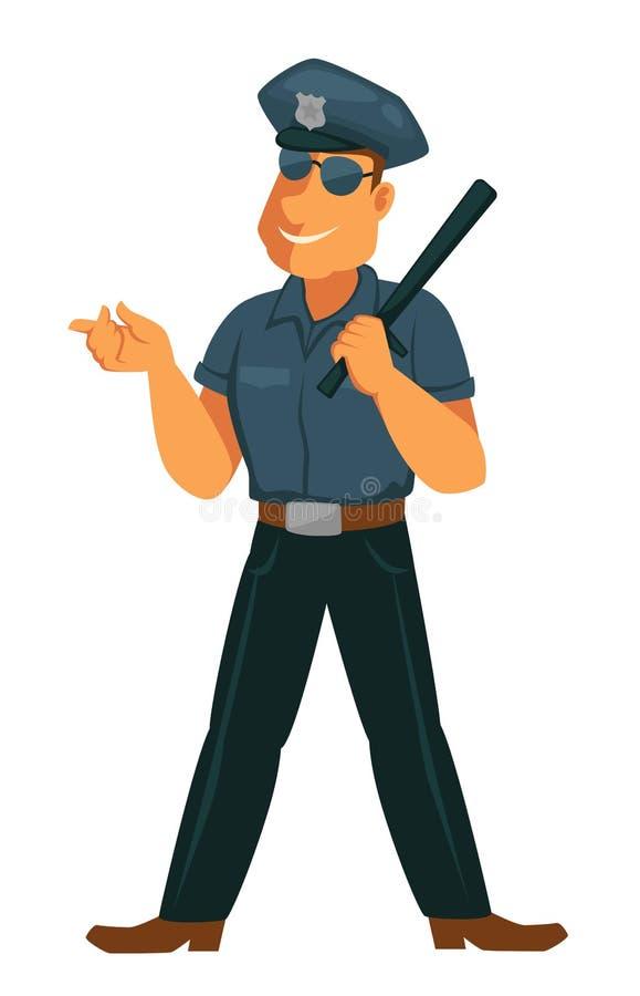 Oficial de policía alegre en uniforme con el palo de goma stock de ilustración