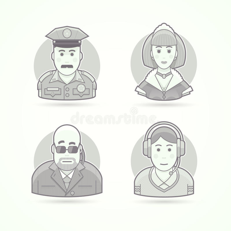 Oficial de policía, criada, guardia del cuerpo, iconos del operador de la llamada Avatar y ejemplos de la persona ilustración del vector