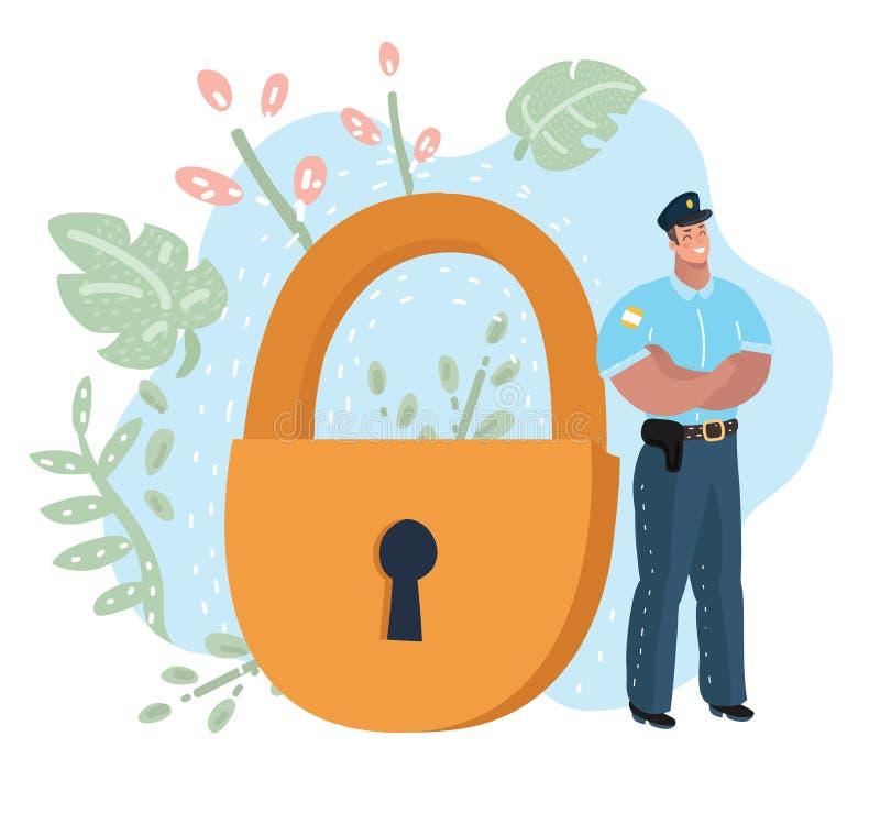 Oficial de policía delante de la cerradura gigante libre illustration