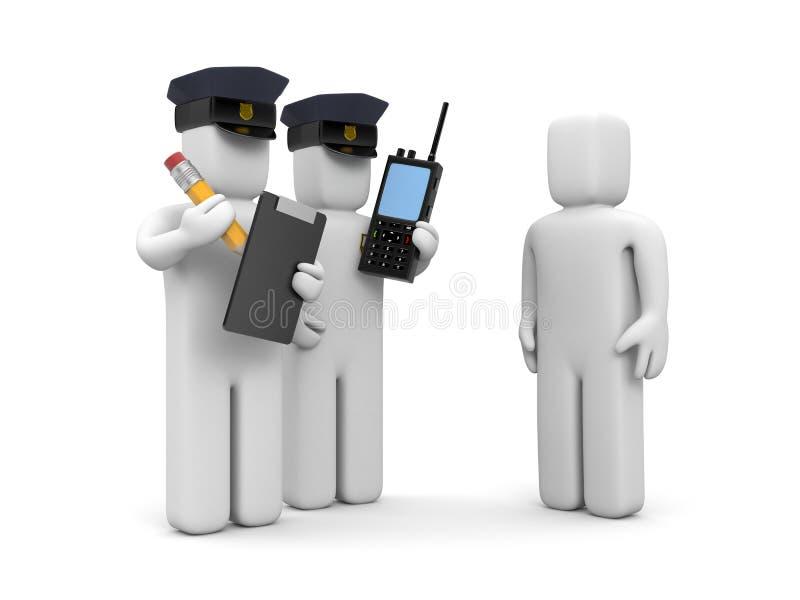 Oficial de policía dos y conductor estúpido stock de ilustración