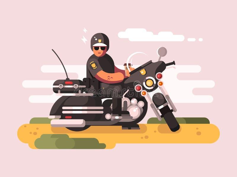 Oficial de policía en la motocicleta stock de ilustración