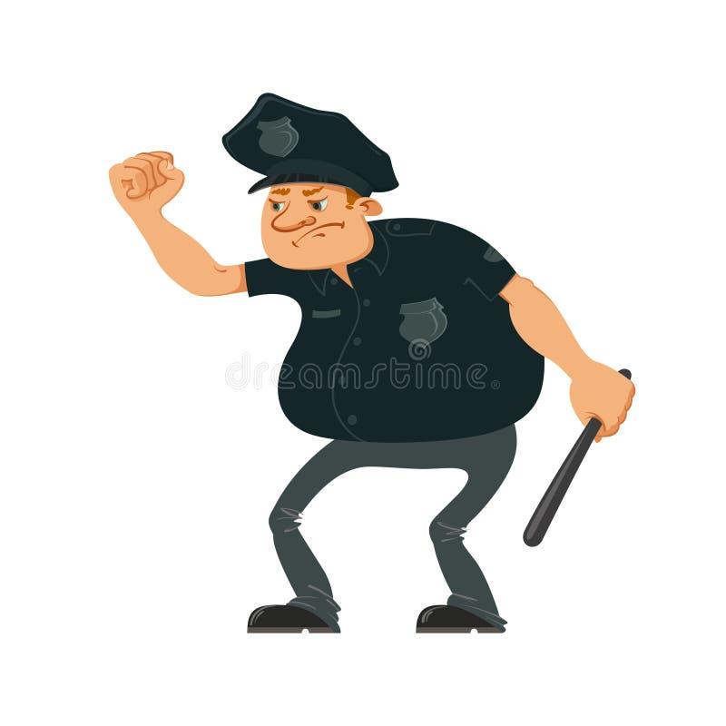 Oficial de policía enojado ilustración del vector