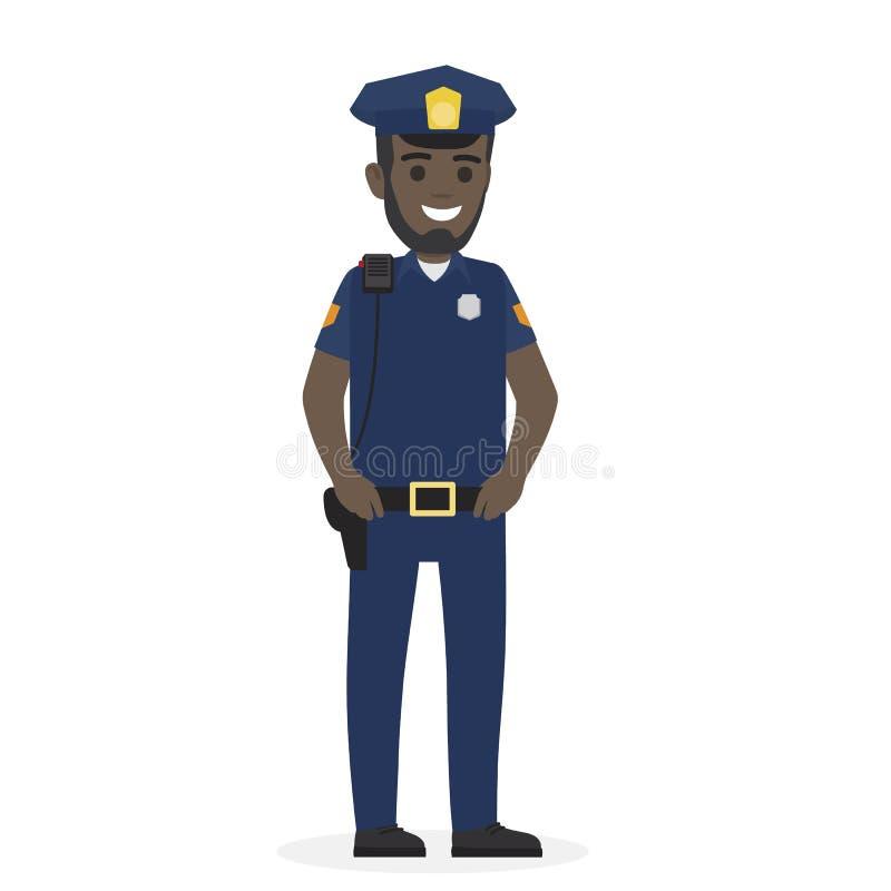 Oficial de policía negro feliz Keeps sus manos en la correa stock de ilustración