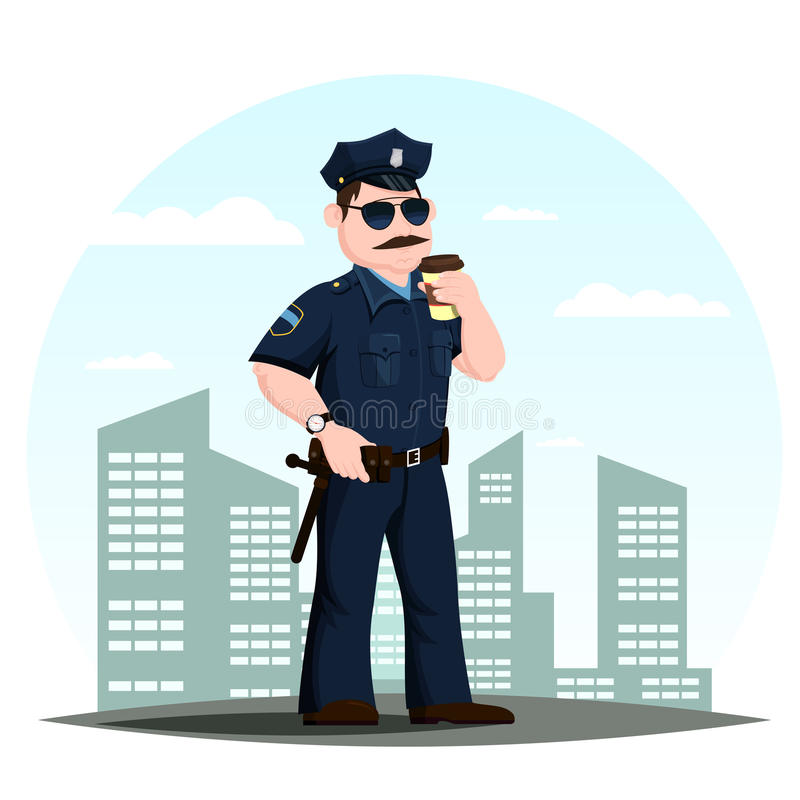 Oficial de policía o policías americanos con café libre illustration