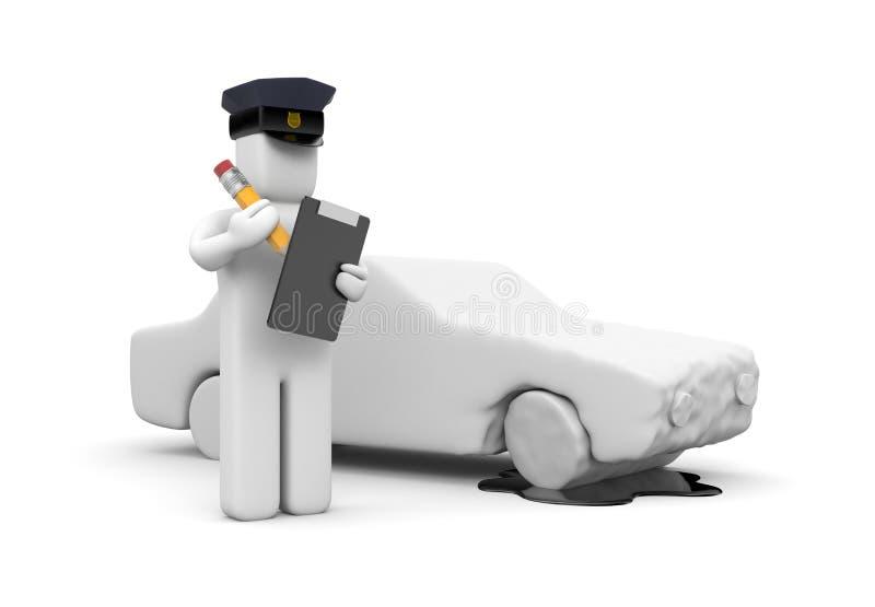 Oficial de policía que escribe un accidente del vehículo ilustración del vector