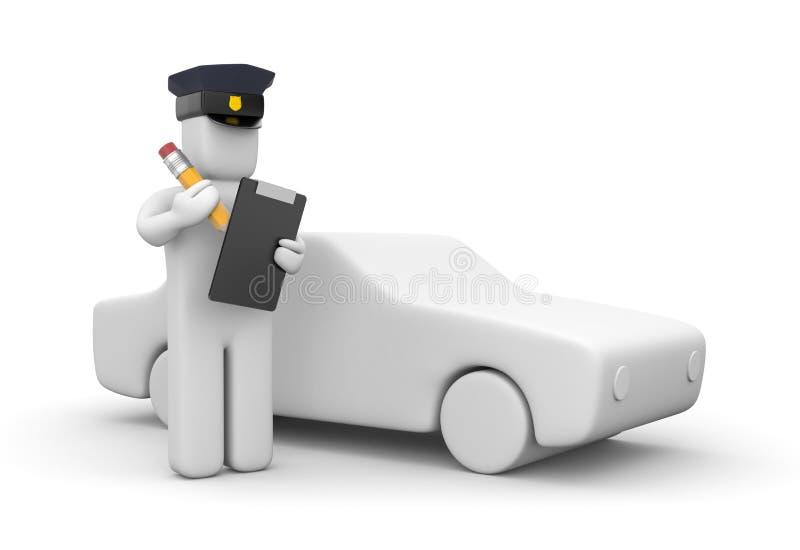 Oficial de policía que escribe un boleto stock de ilustración