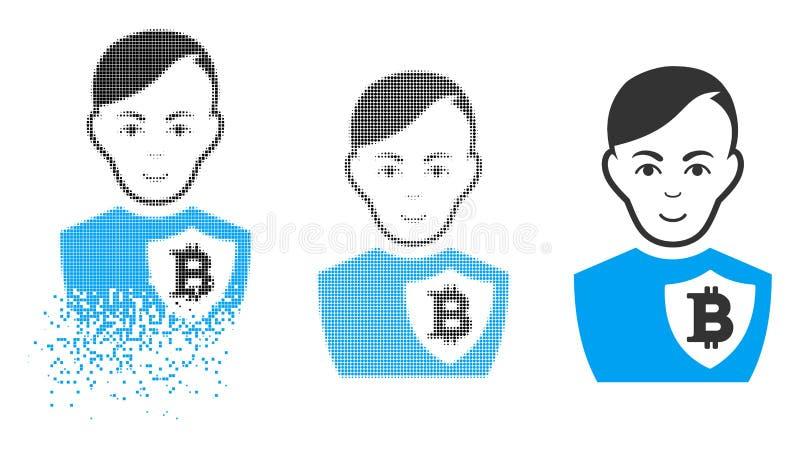 Oficial de policía de semitono punteado destrozado de Bitcoin Icon con la cara ilustración del vector
