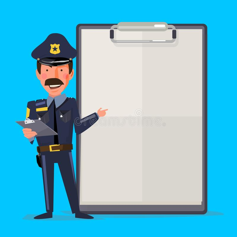 Oficial de policía de sexo masculino sonriente con el papel del informe Diseño de carácter ilustración del vector