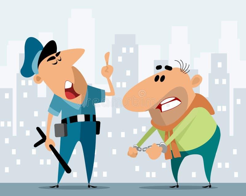 Oficial de policía y criminal stock de ilustración