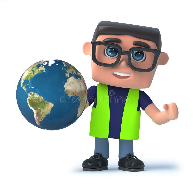 oficial de saúde 3d e de segurança que guarda um globo da terra ilustração do vetor