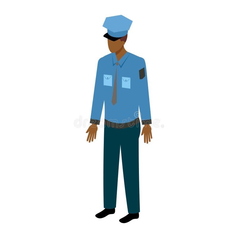 Oficial de sexo masculino afroamericano isométrico stock de ilustración