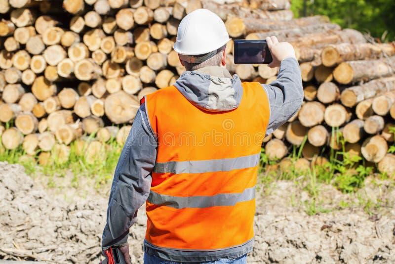 Oficial del bosque filmado con el teléfono celular cerca de pila de la madera de construcción fotografía de archivo libre de regalías