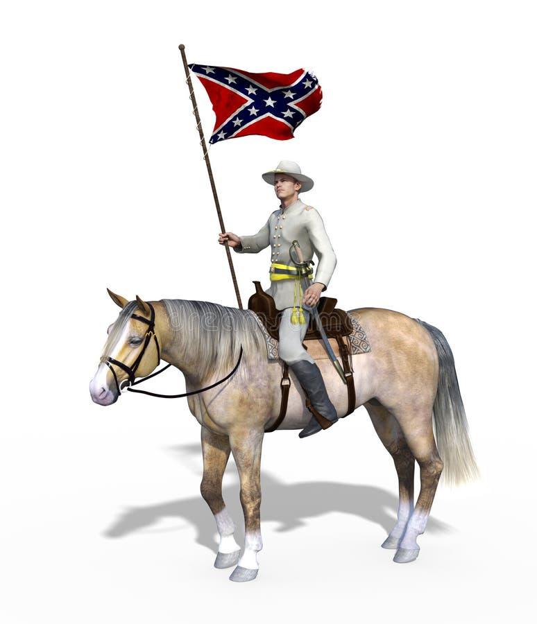 Oficial del confederado de la guerra civil a caballo ilustración del vector