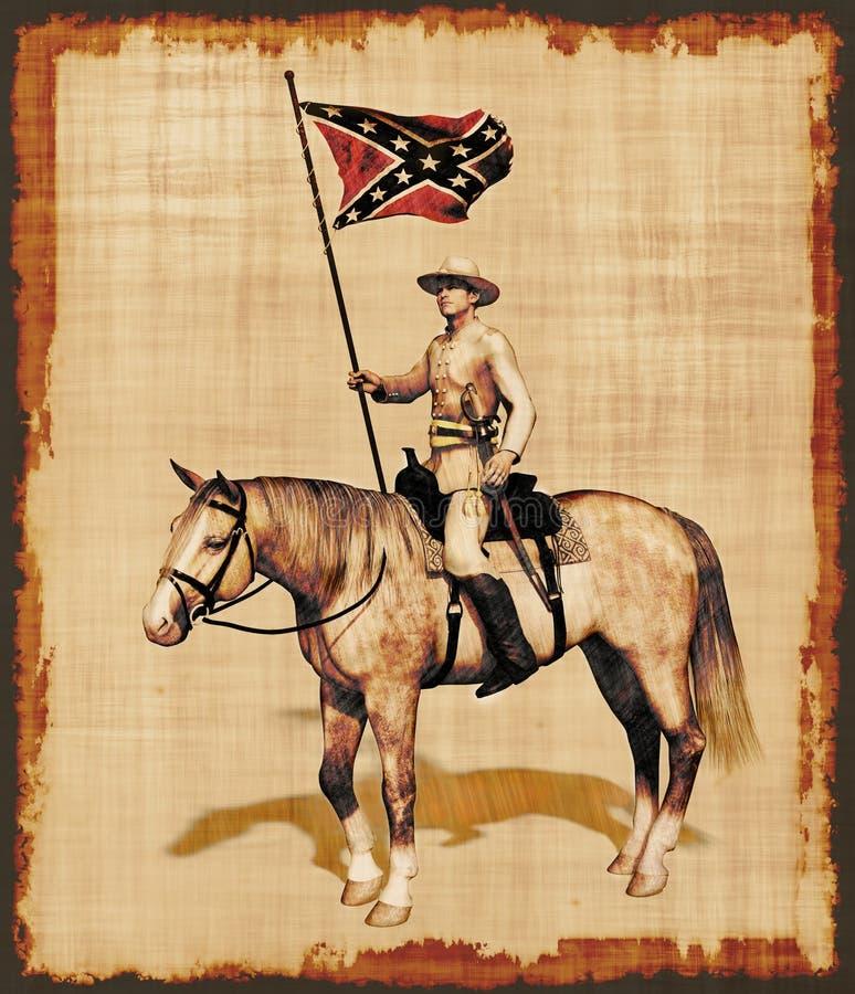 Oficial del confederado de la guerra civil en el pergamino stock de ilustración