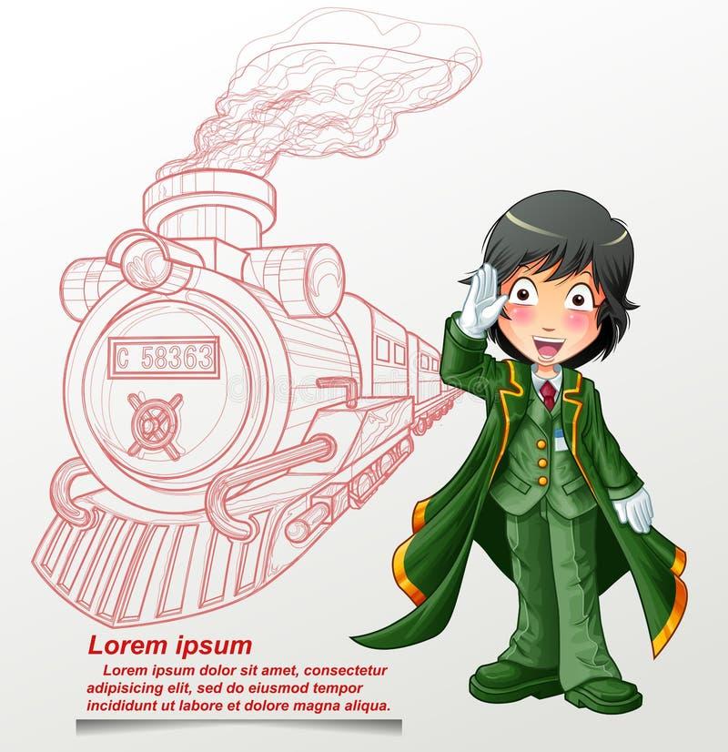 Oficial do trem do estação de caminhos de ferro e do esboço ilustração do vetor