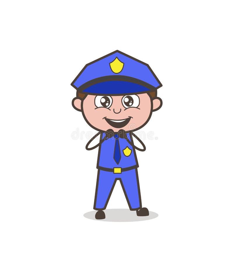 Oficial inocente feliz bonito Character dos desenhos animados ilustração royalty free