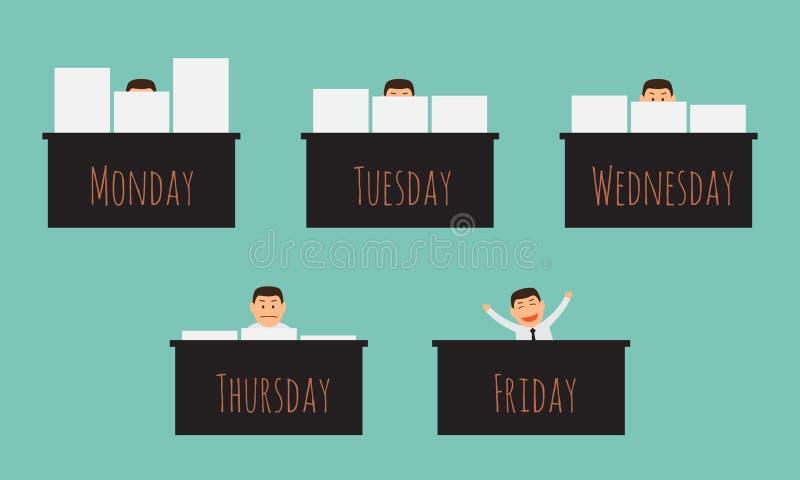Oficial que trabalha na semana. ilustração royalty free
