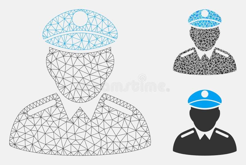 Oficial Vector Mesh Carcass Model e icono del mosaico del triángulo stock de ilustración