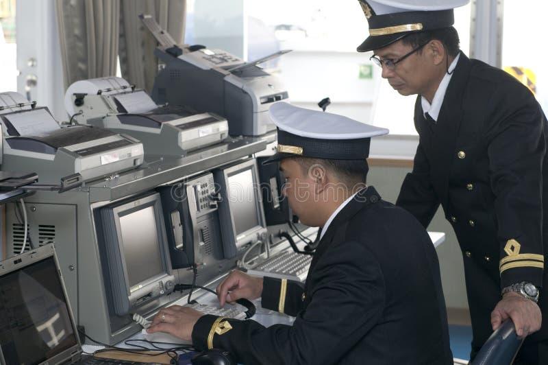 Oficiales de la navegación foto de archivo