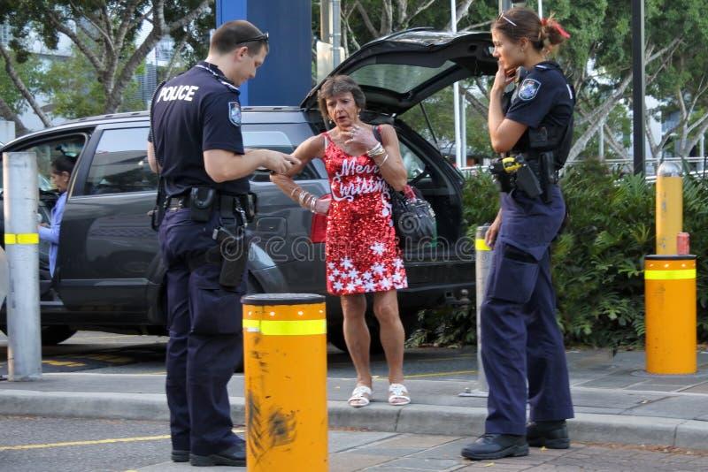 Oficiales de policía australianos en Brisbane, Australia fotos de archivo