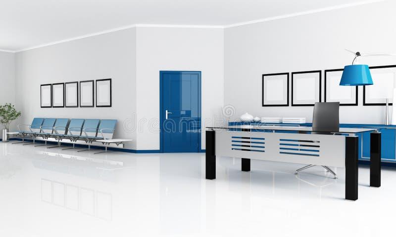 Oficina azul y blanca libre illustration
