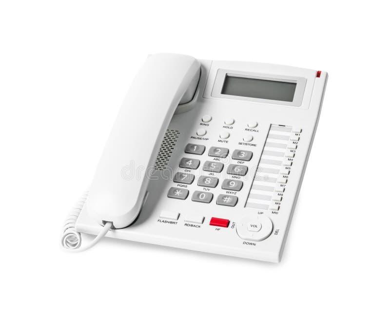 Oficina blanca del teléfono del IP aislada en el fondo blanco fotografía de archivo