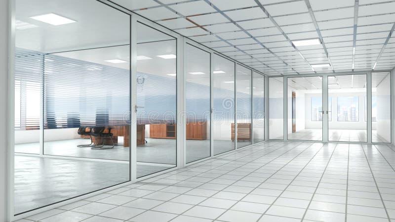 oficina brillante con las puertas de cristal interiores ilustración del vector