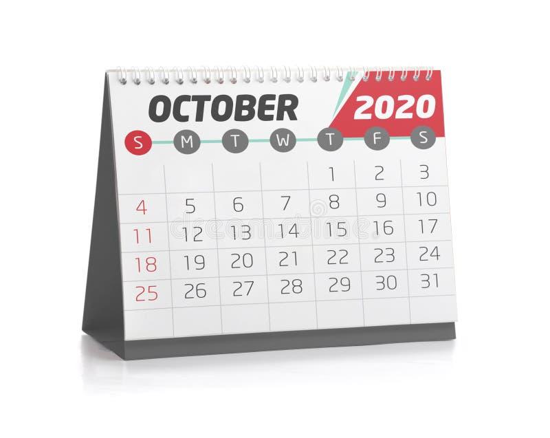 Oficina calendario octubre de 2020 ilustración del vector