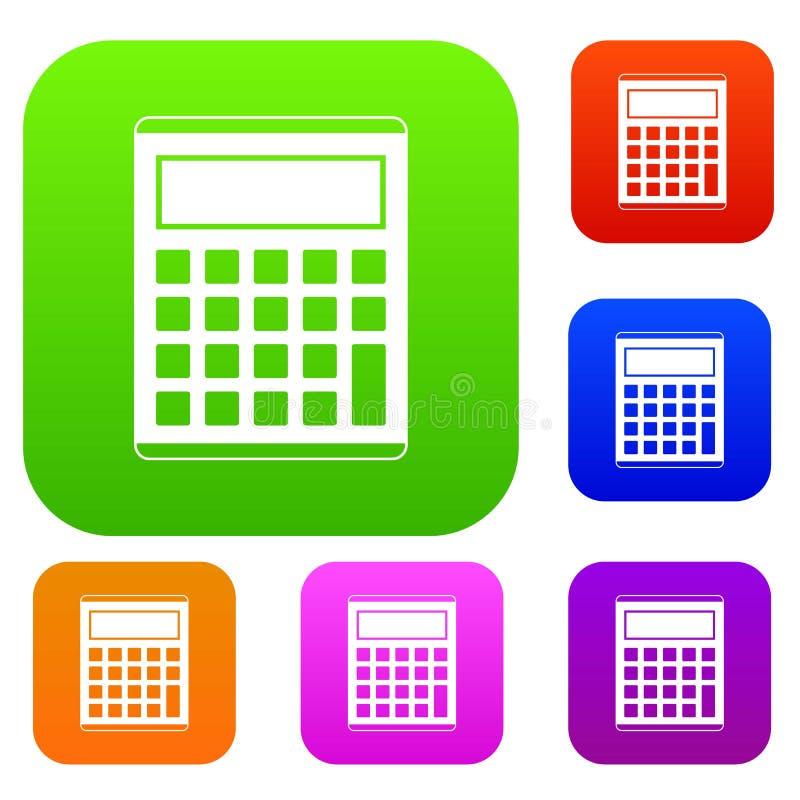 Oficina, colección determinada del color de la calculadora electrónica de la escuela stock de ilustración