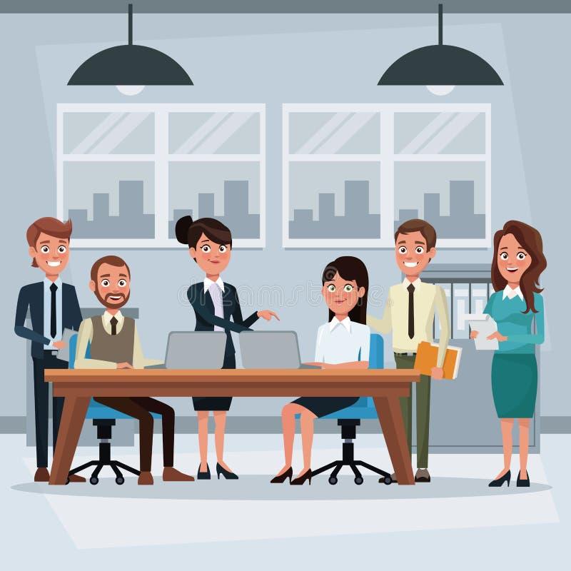Oficina colorida del lugar de trabajo del fondo con el trabajo de los ejecutivos del trabajo en equipo stock de ilustración