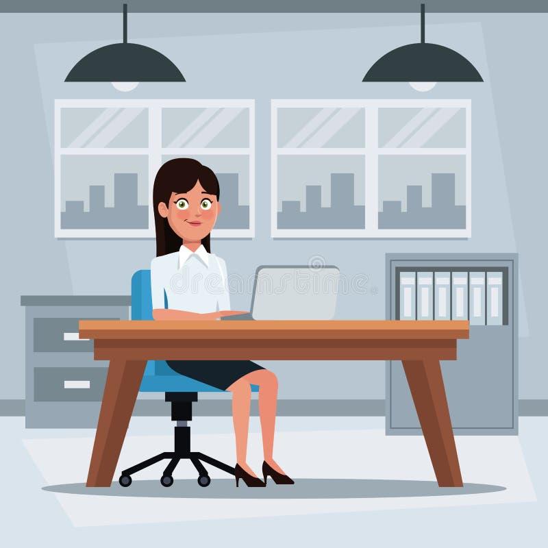 Oficina colorida del lugar de trabajo del fondo con la mujer ejecutiva que se sienta en un escritorio de la tabla delante del ord ilustración del vector