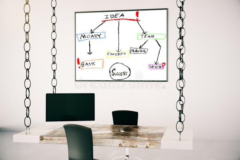 Oficina con bosquejo del concepto de la idea fotos de archivo
