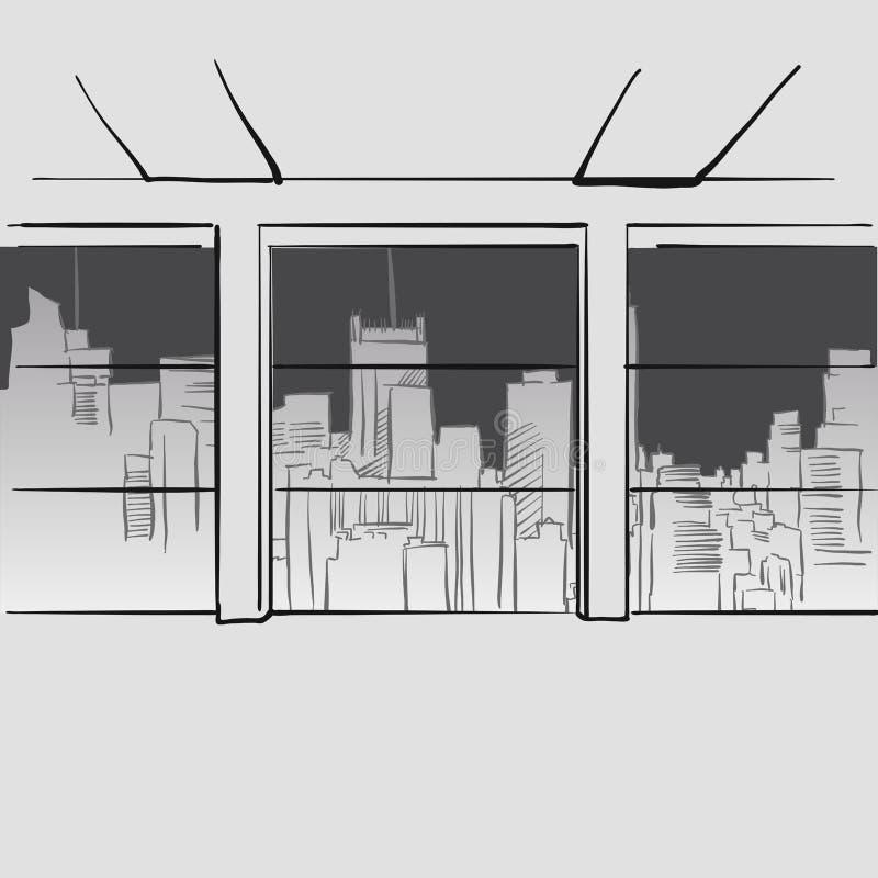 Oficina con las ventanas grandes y horizonte en fondo ilustración del vector