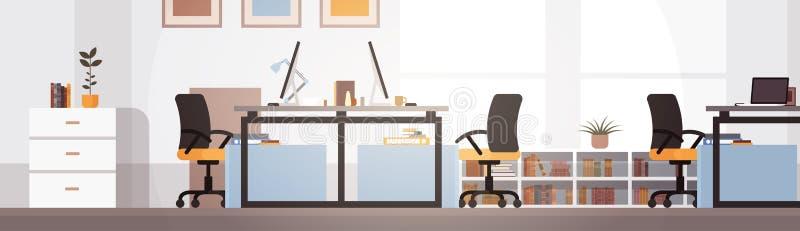 Oficina creativa Co-que trabaja el lugar de trabajo moderno del campus universitario de centro ilustración del vector