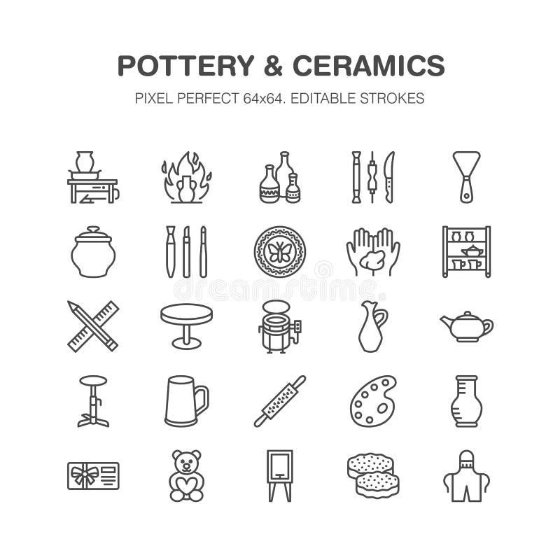 A oficina da cerâmica, cerâmica classifica a linha ícones O estúdio da argila utiliza ferramentas sinais Construção da mão, sculp ilustração royalty free