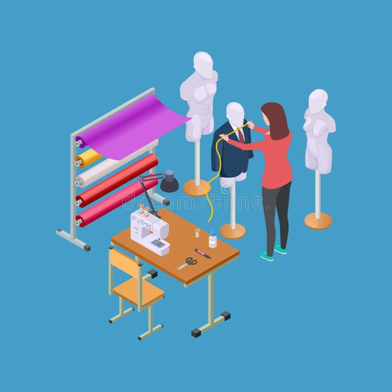 Oficina da costura, oficina e costureira ou ilustração isométrica do vetor do desenhista ilustração stock