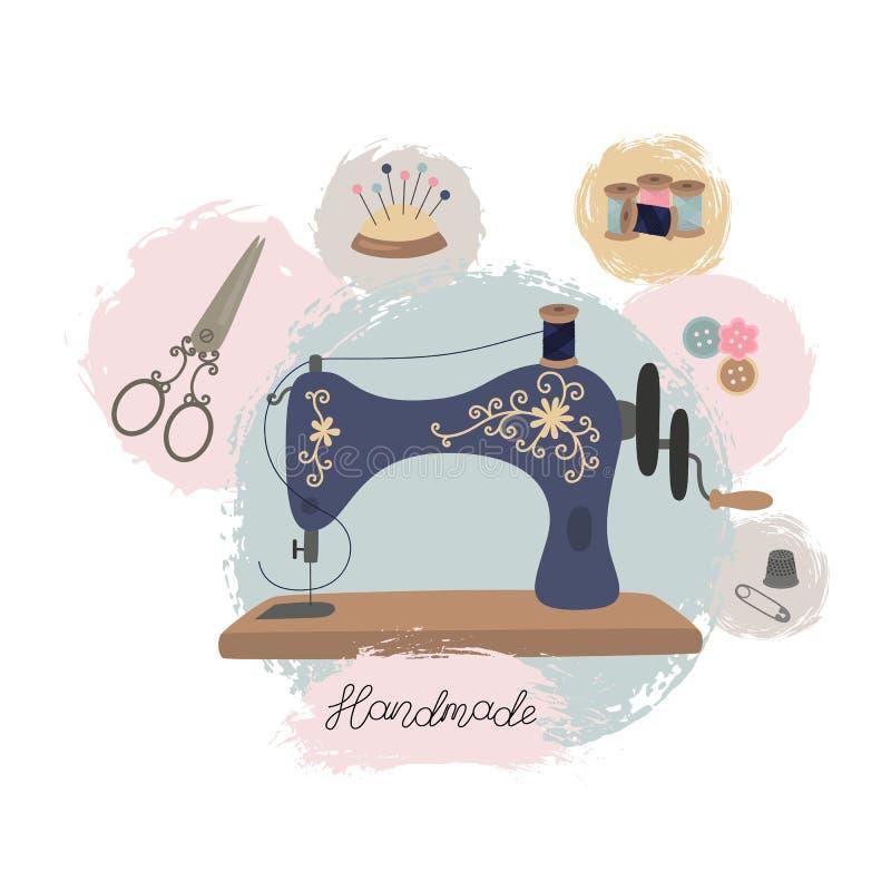 Oficina da costura ou loja do alfaiate Máquina de costura tirada mão do vintage ilustração stock