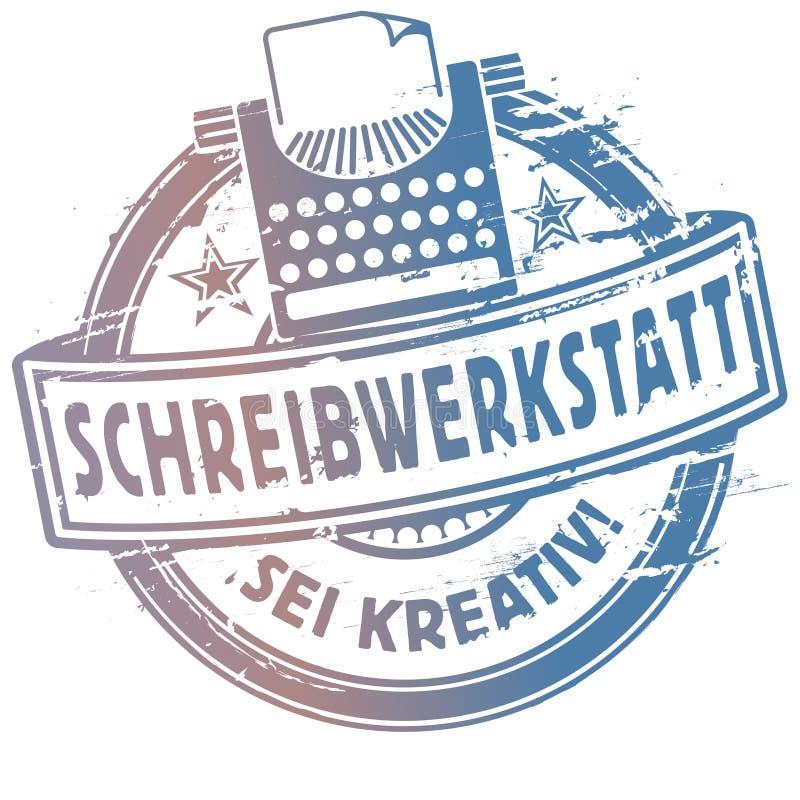 Oficina da escrita do carimbo de borracha ilustração stock