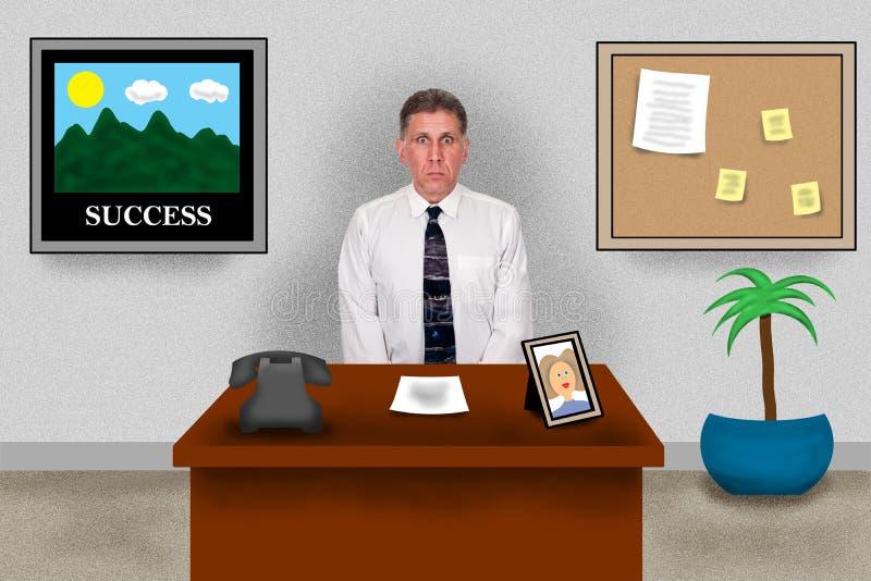 Oficina de asunto virtual, hombre que se sienta en el escritorio del trabajo libre illustration