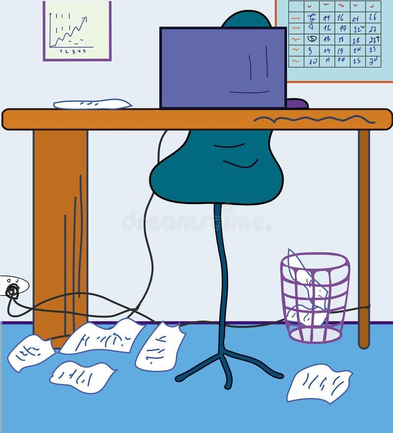 Oficina de la historieta ilustración del vector
