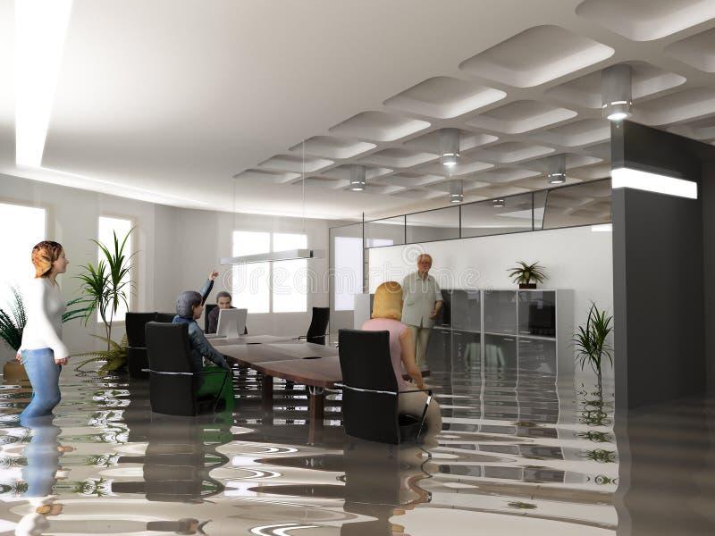 Oficina de la inundación stock de ilustración