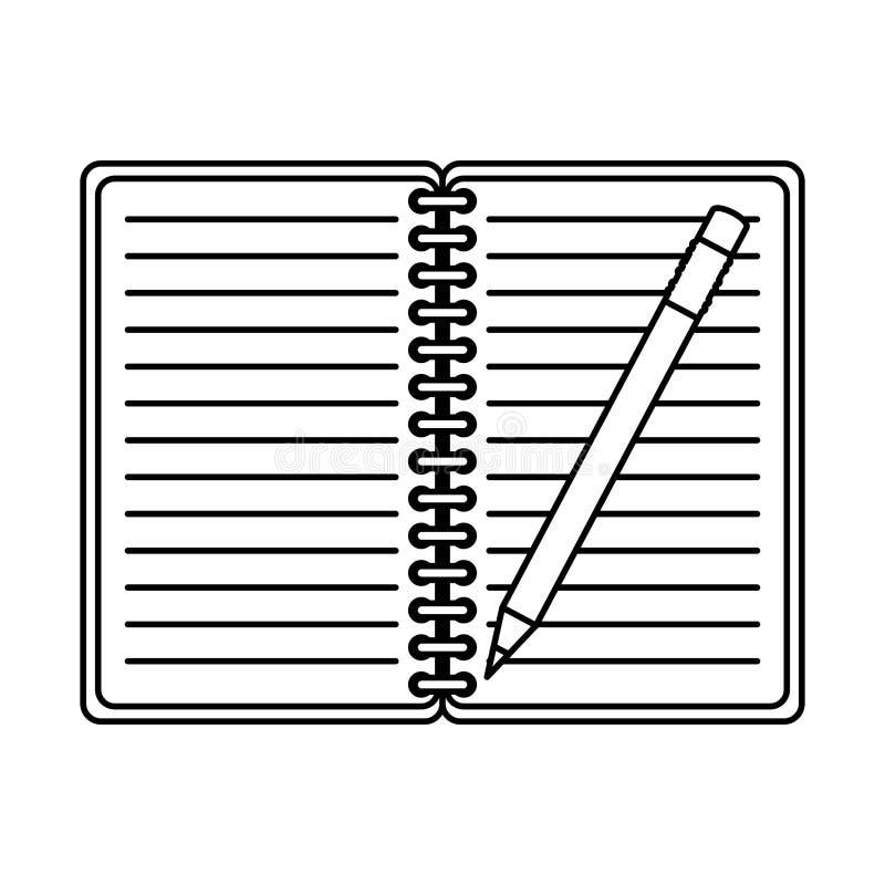 Oficina de la libreta con el lápiz stock de ilustración