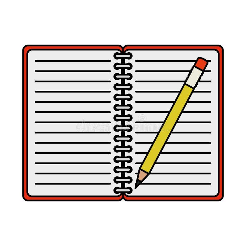 Oficina de la libreta con el lápiz ilustración del vector