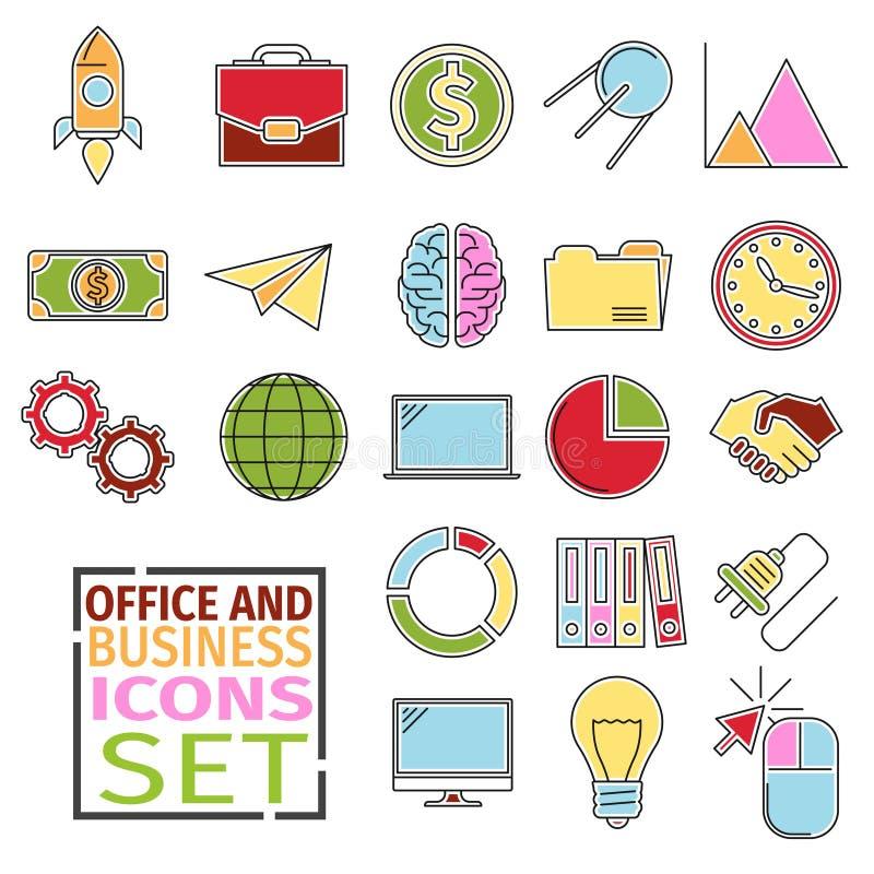 Oficina de los iconos de D libre illustration