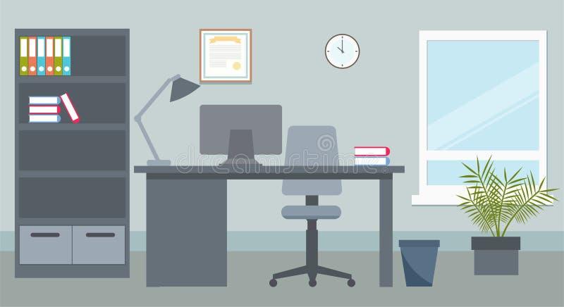 Oficina de negocios con el escritorio y el ordenador stock de ilustración