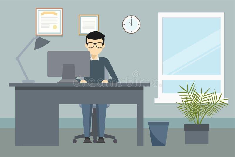 Oficina de negocios con el escritorio y el ordenador ilustración del vector