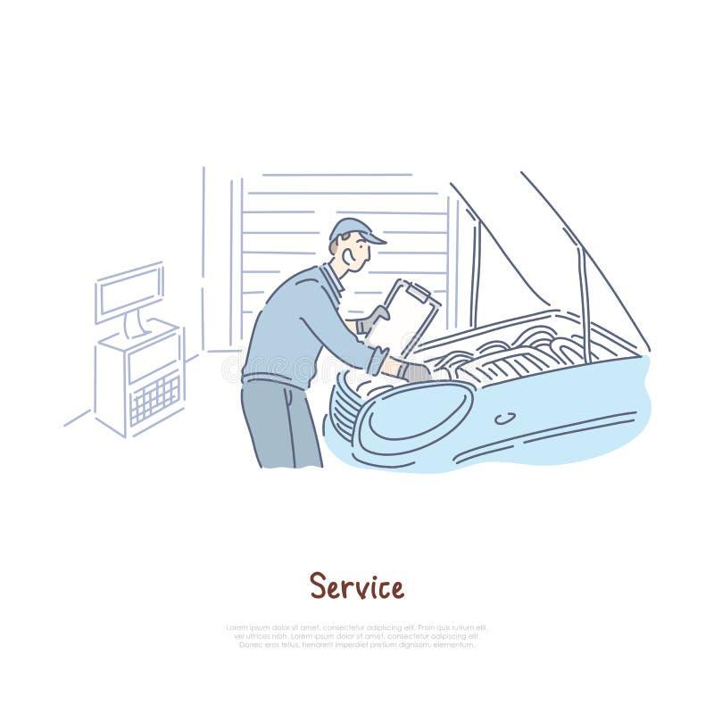 Oficina de reparações do carro, serviço do reparador, trabalhador manual que verifica o motor de automóvel, molde da bandeira do  ilustração royalty free