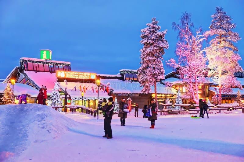 Oficina de Santa Claus en la ciudad de Rovaniemi que está en Finlandia en Lapla foto de archivo libre de regalías