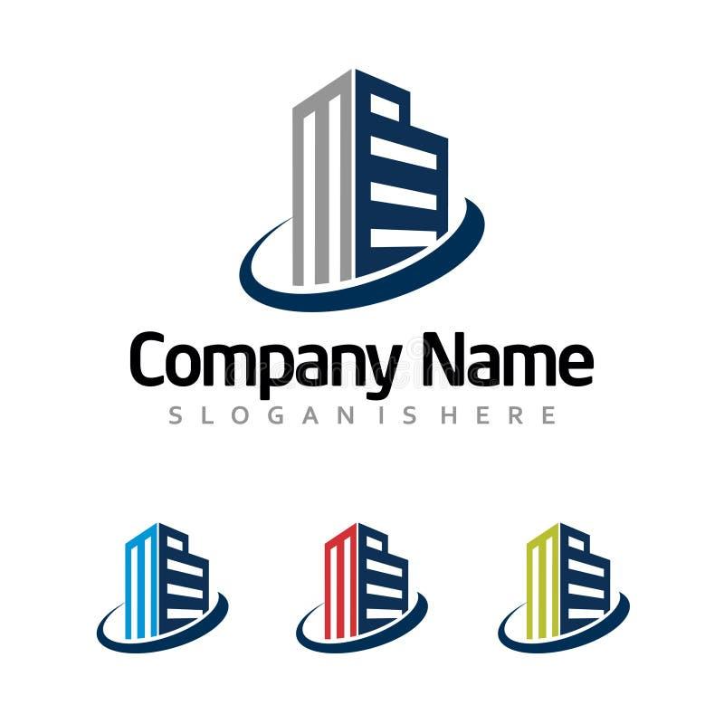 Oficina del apartamento del hotel - logotipo constructivo comercial moderno stock de ilustración