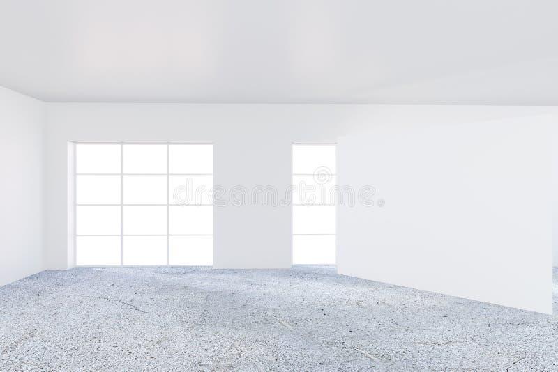 Oficina del CEO con las paredes blancas en un área de la oficina con una ventana panorámica Un fragmento grande de la pared en bl libre illustration